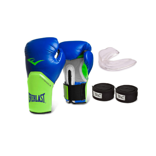 282eab9a4 Kit Everlast Boxe  Muay Thai Luva+band+bucal Azul verde